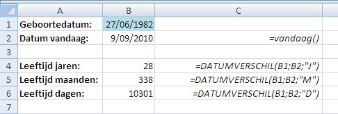 Excel Leeftijd Berekenen Met Datumverschil Exhelpbe